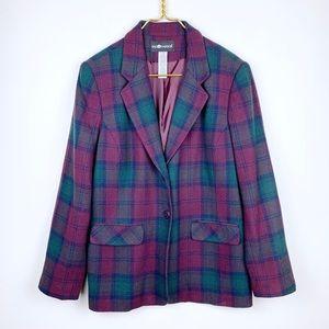 Vintage Plaid Oversized Blazer Jacket